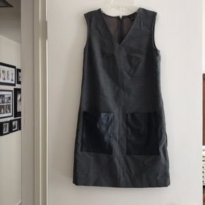 Ann Taylor dress-grey with faux leather pockets XS